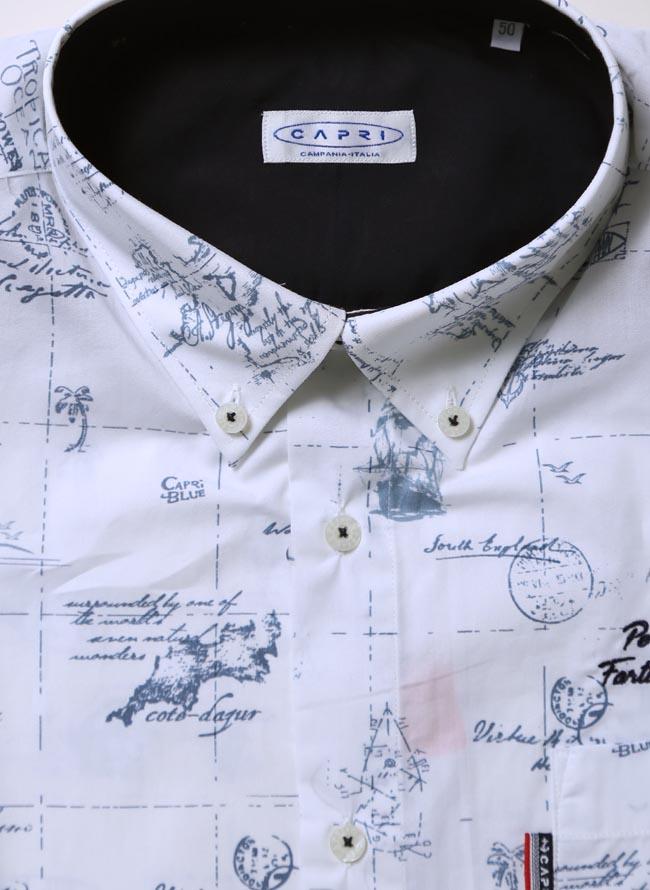 【大きいサイズメンズ】CAPRI(カプリ)イタリア柄綿100%ボタンダウン長袖シャツカジュアルシャツ2L(50)/3L(52)カラー2