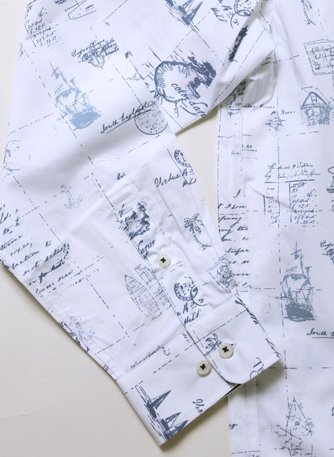 【大きいサイズメンズ】CAPRI(カプリ)イタリア柄綿100%ボタンダウン長袖シャツカジュアルシャツ2L(50)/3L(52)カラー4