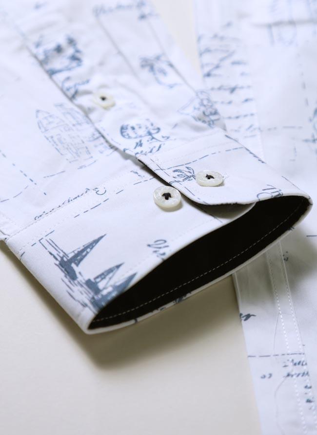 【大きいサイズメンズ】CAPRI(カプリ)イタリア柄綿100%ボタンダウン長袖シャツカジュアルシャツ2L(50)/3L(52)カラー5