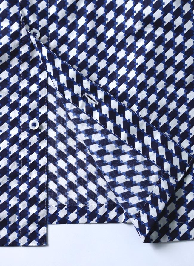 大きいサイズ半袖シャツカジュアルシャツメンズボタンダウン柄シャツ幾何学模様カジュアルお洒落紺春夏3L(52)