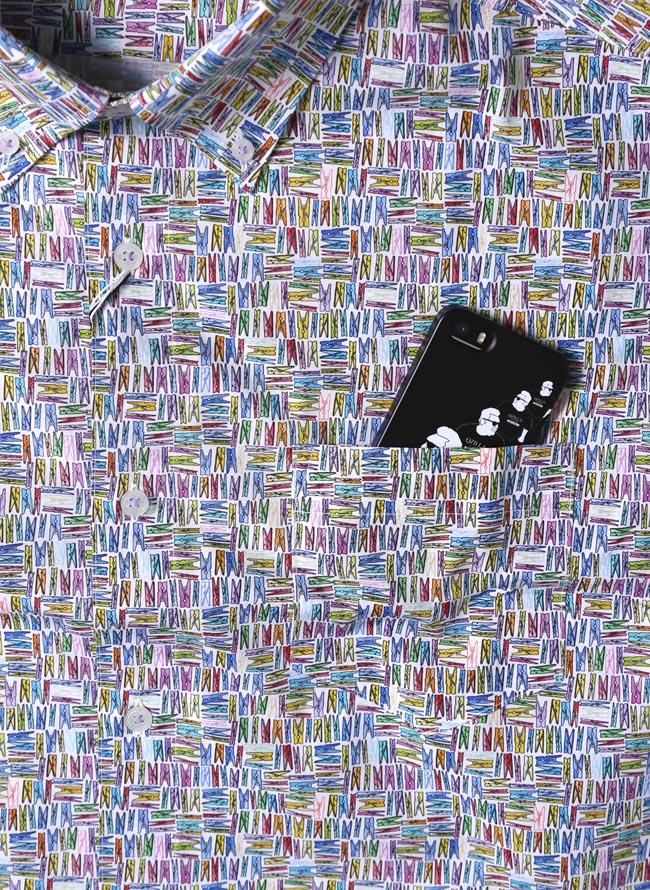 大きいサイズ半袖シャツカジュアルシャツメンズボタンダウン洗濯バサミ柄日本製イタリア生地3L(52)カラフル春夏