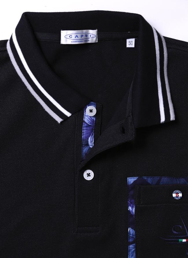 大きいサイズポロシャツメンズ胸ポケットニット日本製CAPRI(カプリ)ポイント花柄2L(50)3L(52)カジュアルゴルフ黒春夏