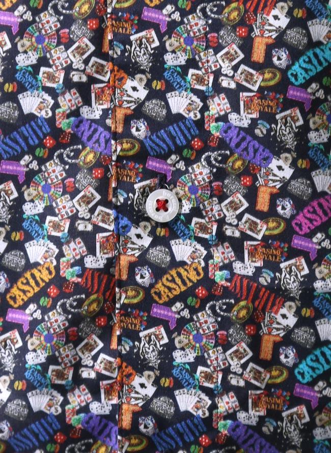 大きいサイズ長袖シャツカジュアルシャツメンズボタンダウンbarasssi(バラシ)カジノ柄日本製限定1点2L(50)3L(52)紺秋冬