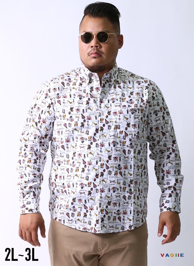 【大きいサイズ メンズ】VAGIIE(バジエ)サーカス柄 日本製 ボタンダウン長袖シャツ カジュアルシャツ 2L(50)/3L(52)