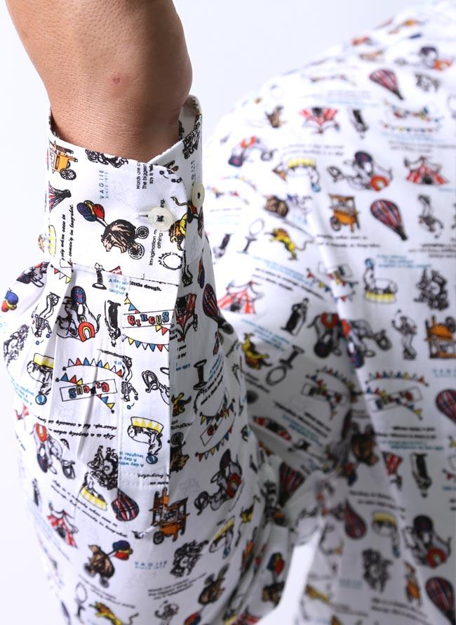 大きいサイズ長袖シャツカジュアルシャツメンズボタンダウンVAGIIE(バジエ)サーカス柄日本製限定1点2L(50)3L(52)秋冬