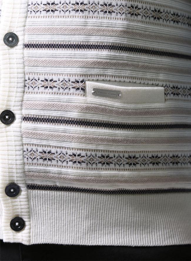大きいサイズニットセーターメンズベストVittorioCarini(ビットリオカリーニ)ウール日本製限定1点2L(50)白紺黒秋冬