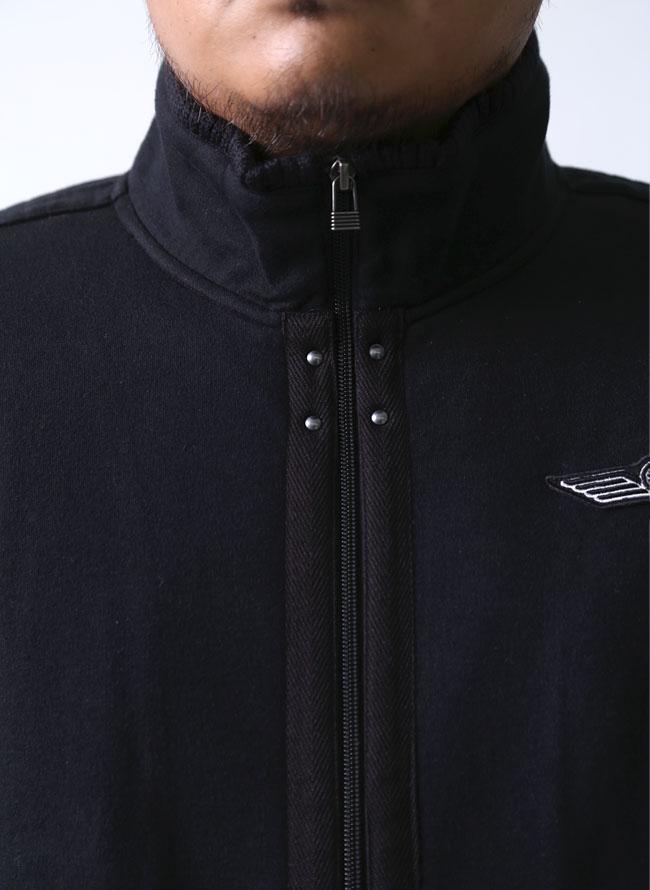 【大きいサイズメンズ】barassi(バラシ)カット素材リブ襟ジャケットミリタリーコート2L(50)/3L(52)