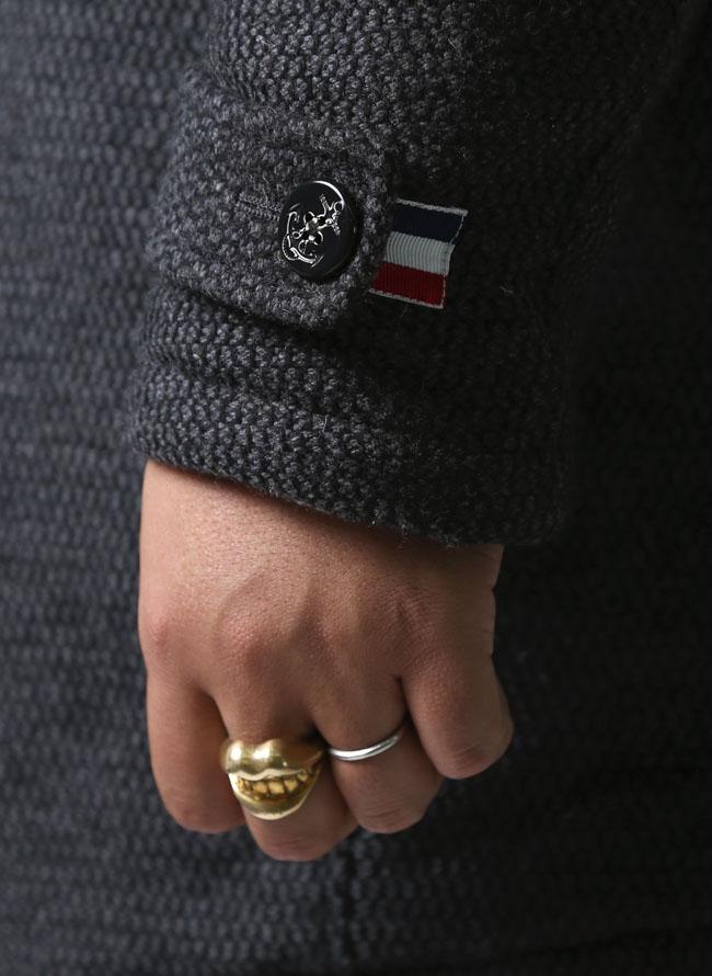 【大きいサイズメンズ】VAGIIE(バジエ)ツイードウールフード脱着式ハーフコート中綿コート2L(50)/