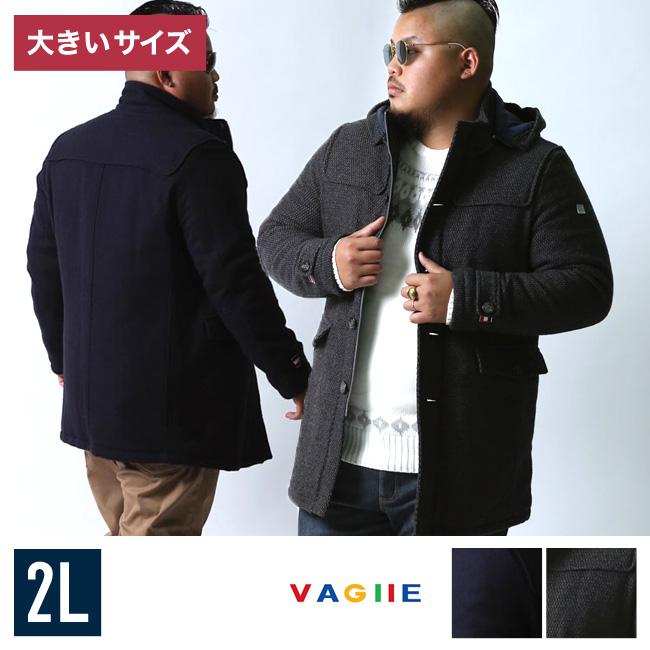 VAGIIE(バジエ)ツイード ウール フード脱着式ハーフコート中綿コート