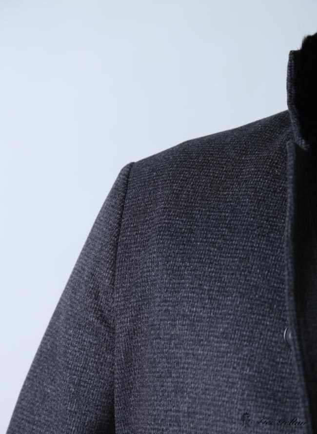 【大きいサイズメンズ】GeeGellan日本製ラビットファーアンゴラハーフコートステンカラーコート2L(50)/3L(52)
