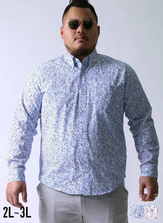 [各1点限定]【大きいサイズメンズ】geegellan(ジーゲラン)水彩幾何学模様日本製ボタンダウン長袖シャツカジュアルシャツ2L(50)/3L(52)