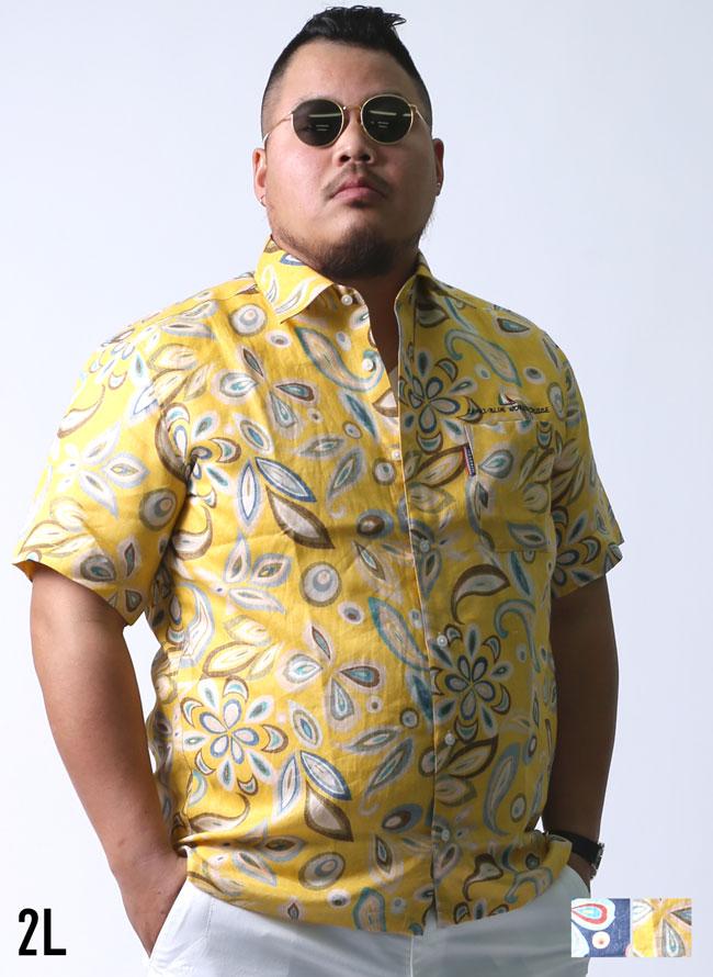 【大きいサイズメンズ】[1点限定]CAPRI(カプリ)ハイカラ柄麻100%レギュラーカラー半袖シャツカジュアルシャツ2L(50)