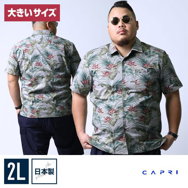 【大きいサイズメンズ】CAPRI(カプリ)ボタニカル柄開襟オープンカラー半袖シャツカジュアルシャツ2L(50)/