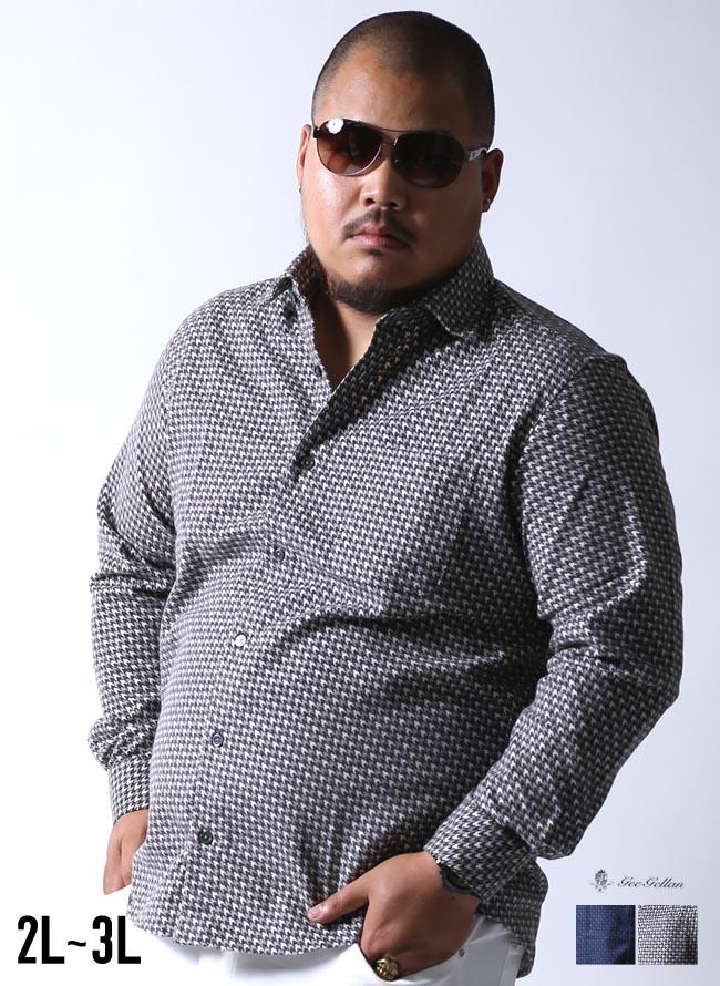 【大きいサイズメンズ】geegellan(ジーゲラン)千鳥柄ネルシャツ長袖シャツカジュアルシャツ2L/3L