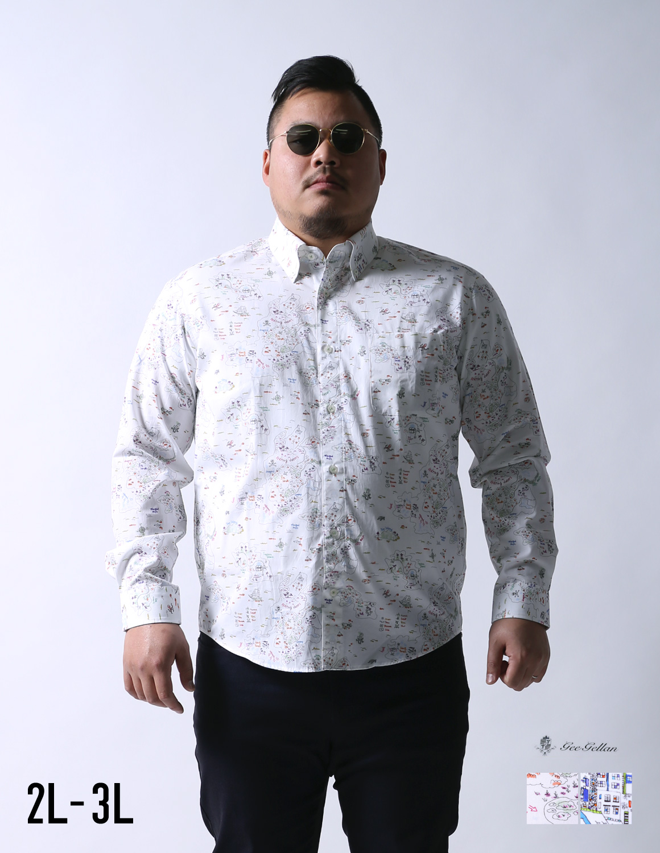 geegellan(ジーゲラン)街地図柄日本製ボタンダウン長袖シャツカジュアルシャツ2L(50)/3L(52)