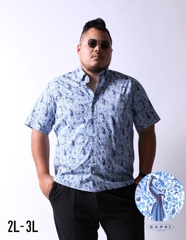 【大きいサイズメンズ】CAPRI(カプリ)クジャク柄ボタンダウン半袖シャツカジュアルシャツ2L(50)/3L(52)