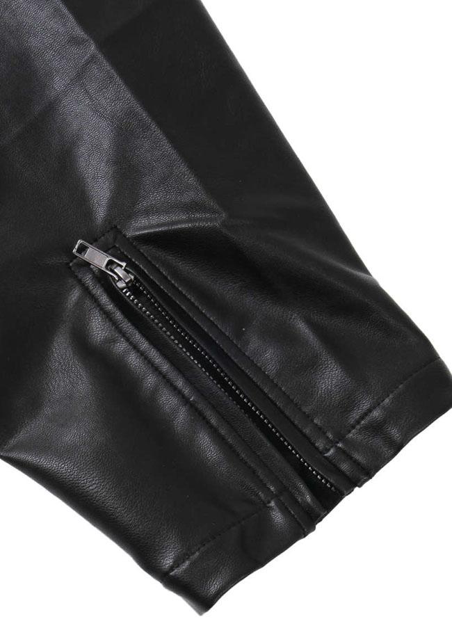 フェイクレザー刺繍ライダースジャケット詳細07