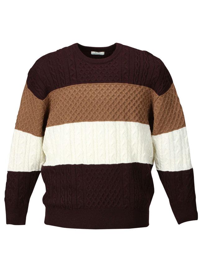 4段編み柄切替クルーセーターカラー1