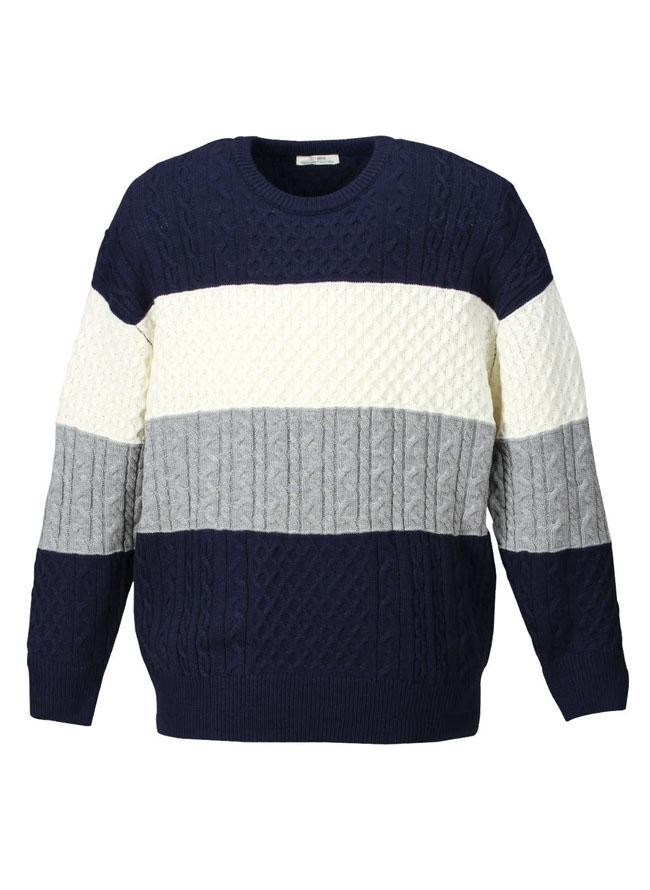 4段編み柄切替クルーセーターカラー2