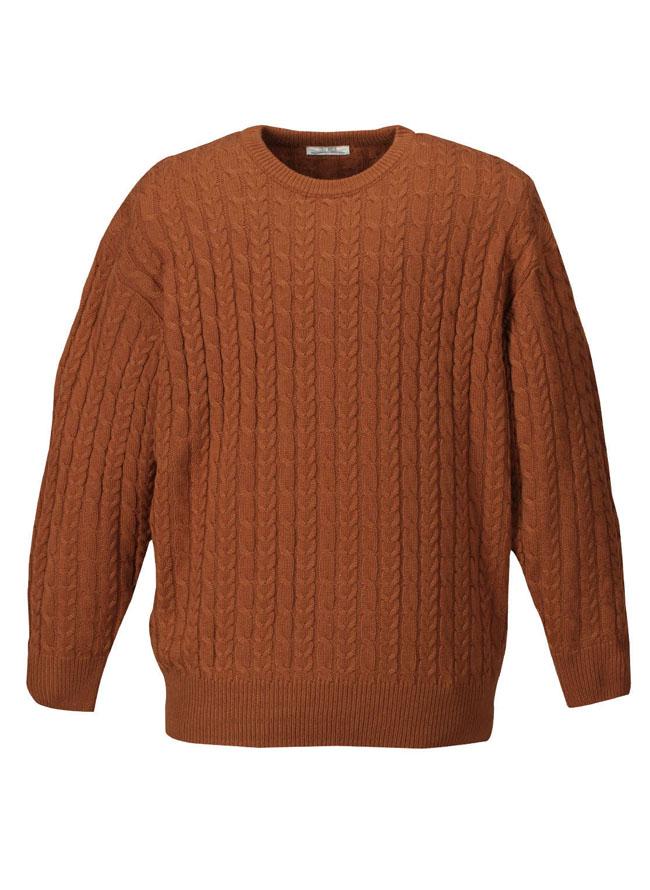 アクリル素材ケーブルクルーセーターカラー2