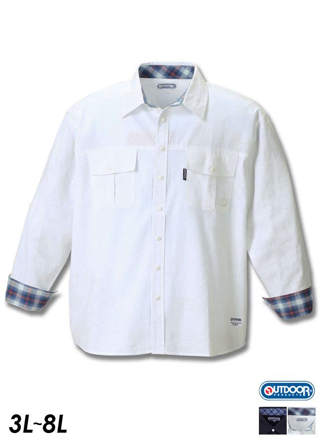 【大きいサイズ メンズ】OUTDOOR PRODUCTS (アウトドア プロダクツ)綿麻ロールアップ長袖シャツ 3L/4L/5L/6L/8L