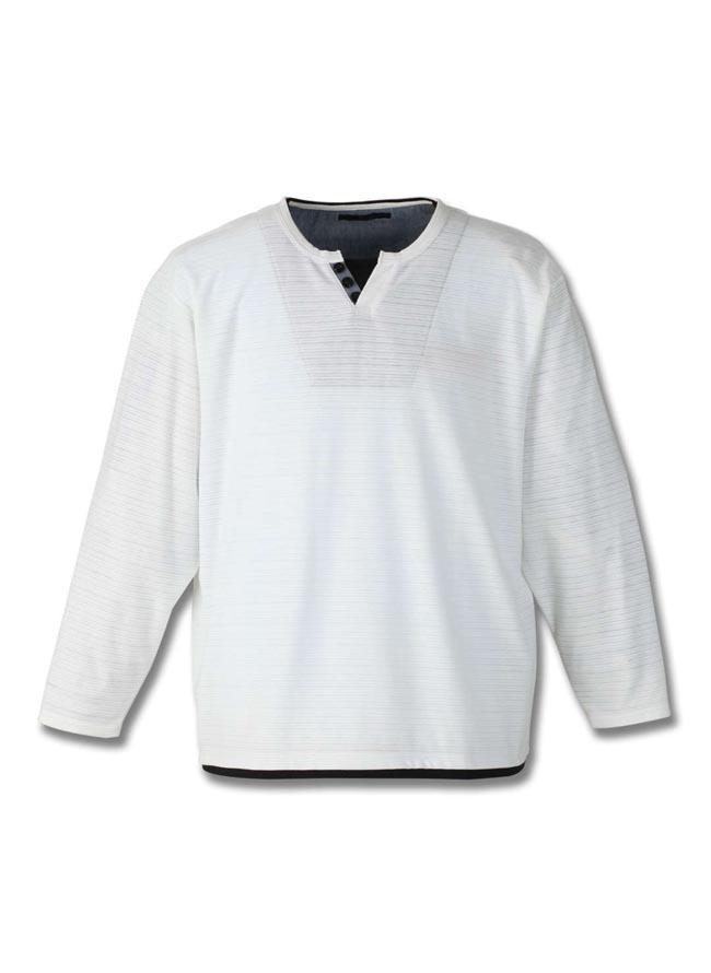 【大きいサイズ メンズ】Mc.S.P (エムシーエスピー)フェイクレイヤードキーネック長袖Tシャツ カットソー 3L/4L/5L/6L/8L/詳細02