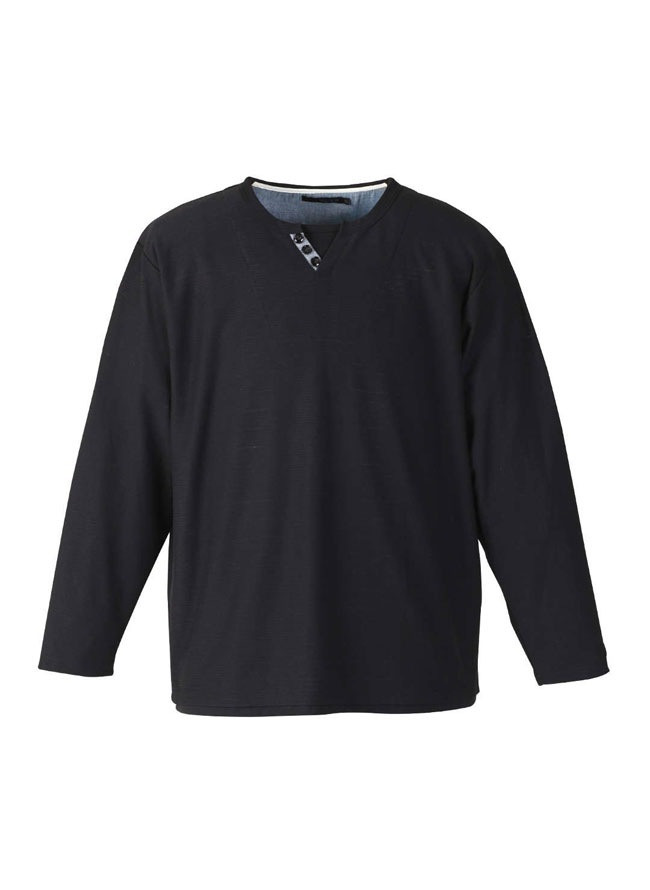 【大きいサイズ メンズ】Mc.S.P (エムシーエスピー)フェイクレイヤードキーネック長袖Tシャツ カットソー 3L/4L/5L/6L/8L/詳細03