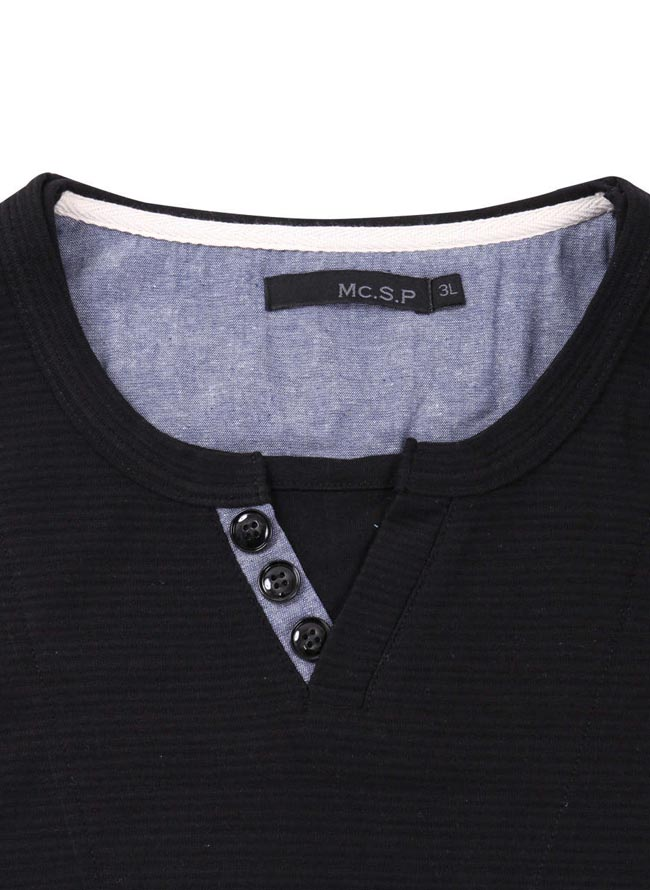 【大きいサイズ メンズ】Mc.S.P (エムシーエスピー)フェイクレイヤードキーネック長袖Tシャツ カットソー 3L/4L/5L/6L/8L/詳細01