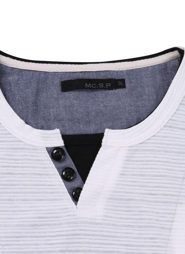 【大きいサイズ メンズ】Mc.S.P (エムシーエスピー)フェイクレイヤードキーネック長袖Tシャツ カットソー 3L/4L/5L/6L/8L/詳細06