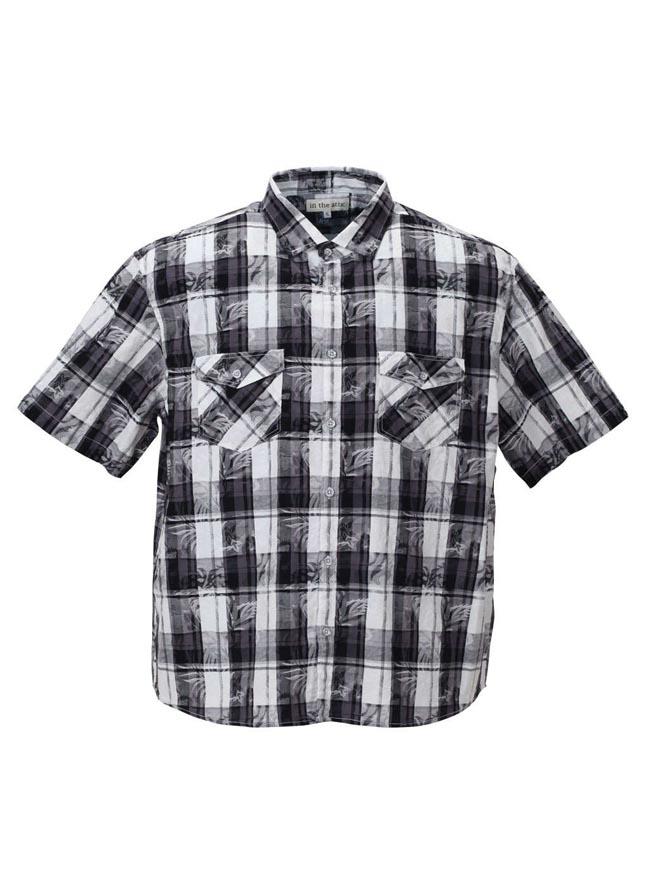 大きいサイズ半袖シャツカジュアルシャツメンズボタニカルintheatticチェック柄3L4L5L6Lカジュアル黒赤春夏