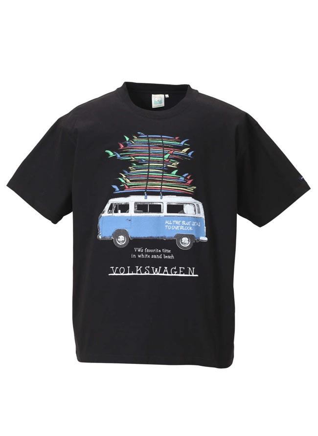 大きいサイズ半袖TシャツカットソーメンズクルーネックVOLKSWAGEN(フォルクスワーゲン)3L4L5L6Lカジュアル白黒春夏