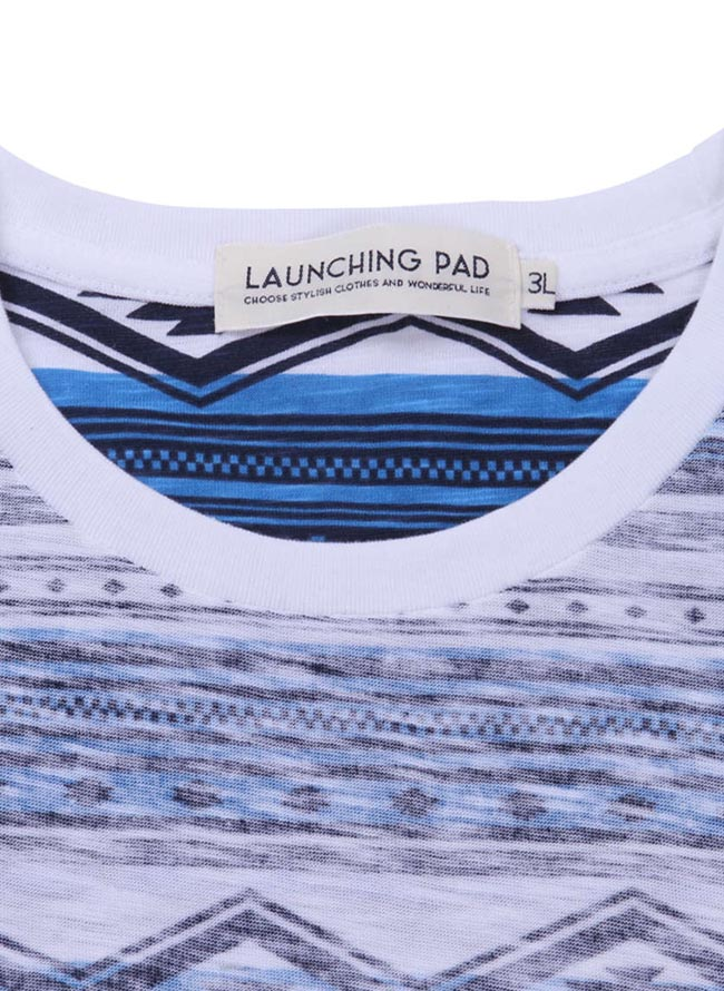 大きいサイズ半袖Tシャツカットソーメンズオルテガボーダーlaunchingpad(ランチングパッド)裏プリント3L4L5L6Lカジュアル青灰春夏