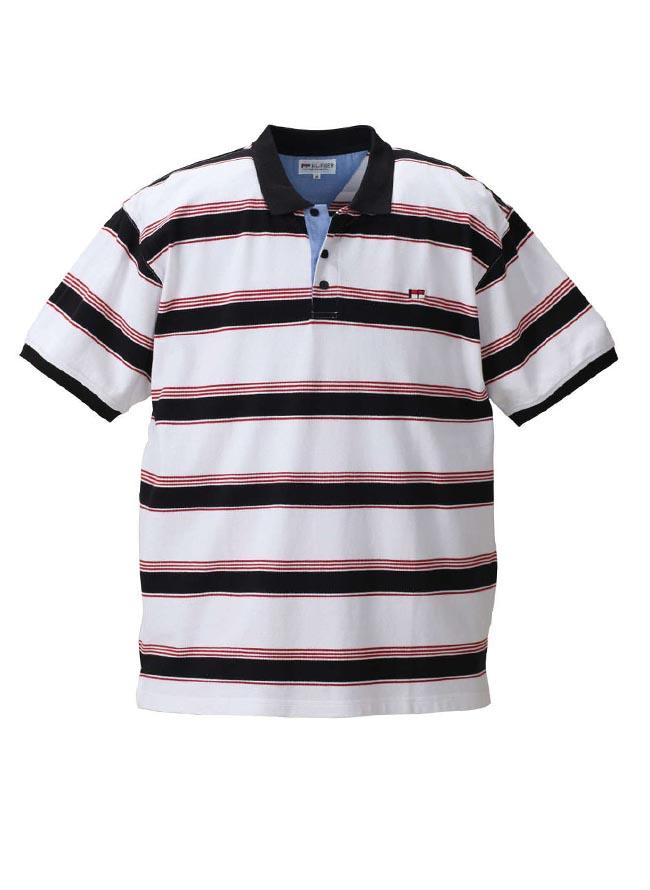 大きいサイズポロシャツメンズHbyFIGER(エイチバイフィガー)鹿の子素材刺繍3L4L5L6L8Lカジュアル紺白春夏