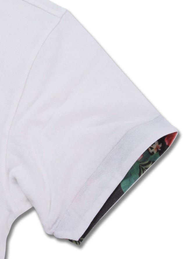 大きいサイズポロシャツメンズSHELTY(シェルティ)刺繍ボタニカル柄鹿の子3L4L5L6L8Lカジュアル白黒紺春夏