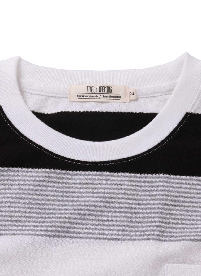大きいサイズ半袖Tシャツカットソーメンズナノテック加工TimelyWarning(タイムリーワーニング)制菌機能マルチボーダー3L4L5L6Lカジュアル紺黒春夏