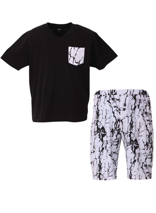 大きいサイズ半袖TシャツカットソーメンズセットアップハーフパンツSHOCKNINE(ショックナイン)胸ポケット3L4L5L6Lカジュアル白黒春夏秋