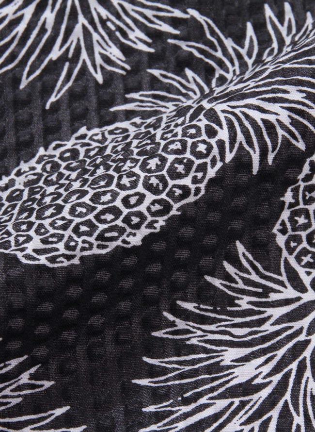大きいサイズ五分七分袖シャツカジュアルシャツメンズオープンシャツOUTDOORパイナップル柄3L4L5L6L8Lカジュアル黄紺春夏秋冬