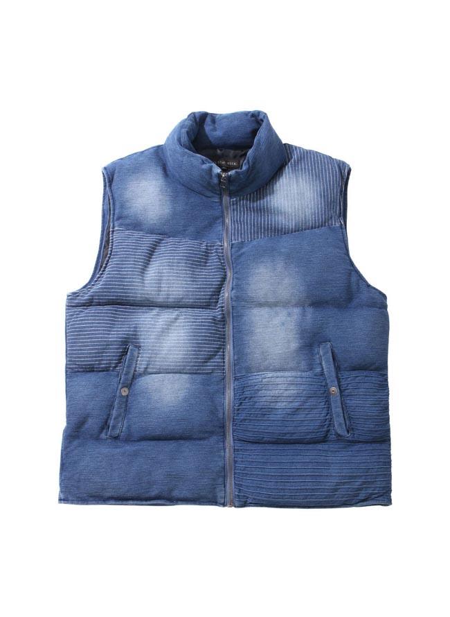 大きいサイズアウトドアウェア ベストメンズ中綿intheattic(インジアティック)カットインディゴ2L3L4L5L6Lカジュアル青紺秋冬