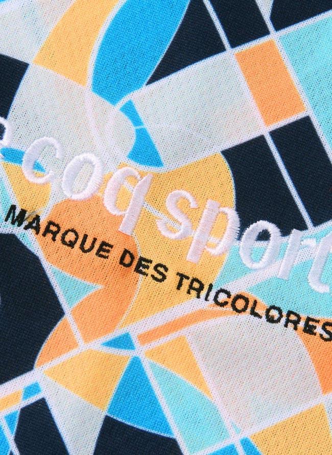 【大きいサイズメンズ】LECOQSPORTIF(ルコックスポルティフ)吸汗速乾UVカットジオメトリック半袖Tシャツカットソー2L/3L/4L/5L/6L/