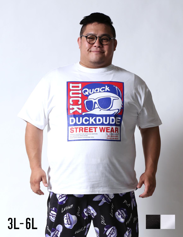 【大きいサイズ メンズ】b-one-soul (ビーワンソウル)DUCKプリントロゴ半袖Tシャツ カットソー 3L/4L/5L/6L/