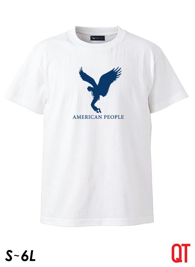【大きいサイズ メンズ】QT(キューティ)AMERICAN PEOPLE アメリカンピープル 綿100%Uネック半袖Tシャツ カットソー S/M/L/2L/3L/4L/5L/6L