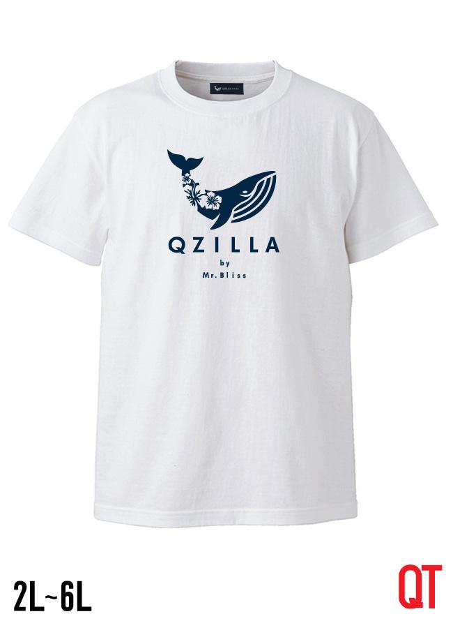 【大きいサイズ メンズ】QT(キューティ)ハイビス柄クジラ 綿100%Uネック半袖Tシャツ カットソー S/M/L/2L/3L/4L/5L/6L