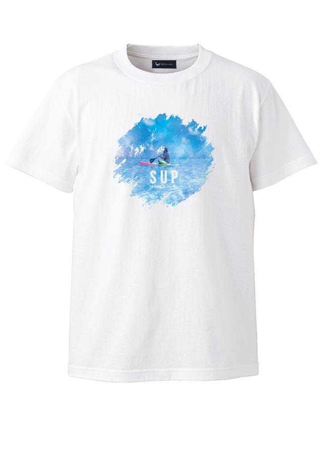 大きいサイズ半袖TシャツカットソーメンズUネックロゴTQT(キューティ)水彩画風SUP綿100%SMLXL(2L)2XL(3L)3XL(4L)4XL(5L)5XL(6L)6.2oz白春夏