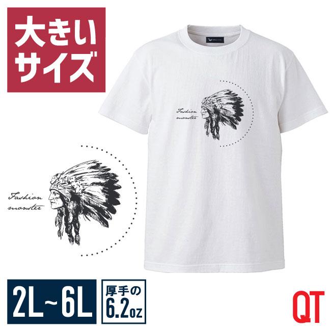 【大きいサイズメンズ】QT(キューティ)インディアンUネック半袖TシャツカットソーXL(2L)/2XL(3L)/3XL(4L)/4XL(5L)/5XL(6L)/