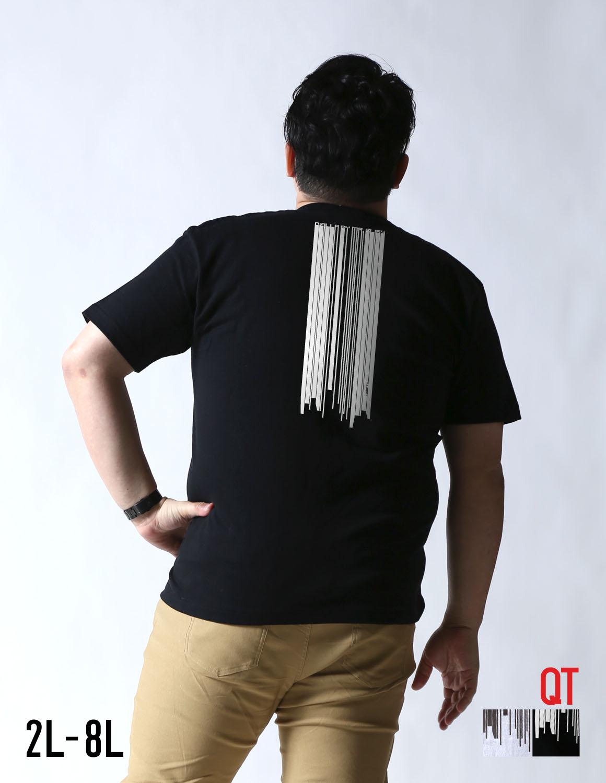 【大きいサイズ メンズ】QT(キューティ)サイバー UPDATEUネック半袖Tシャツ カットソー 2L(XL)/3L(2XL)/4L(3XL)/5L(4XL)/6L(5XL)/7L(6XL)/8L(7XL)