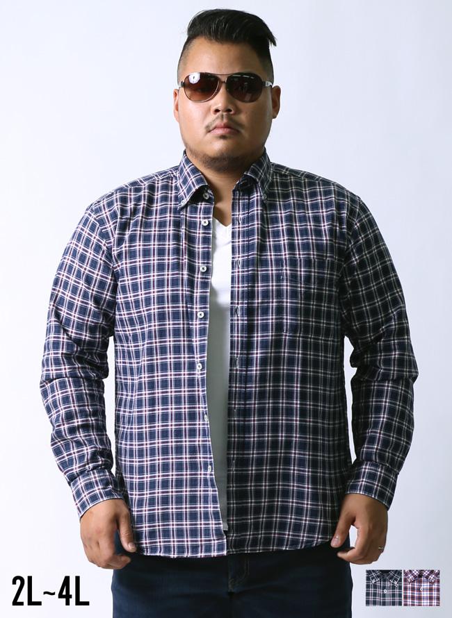 【大きいサイズメンズ】インド綿チェック柄長袖シャツ[2L/3L/4L]