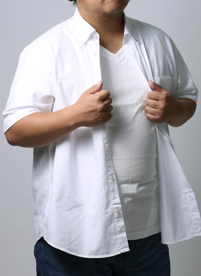 大きいサイズ半袖シャツカジュアルシャツメンズボタンダウンソフトタッチインド綿100%無地3L4L5Lカジュアル白春夏