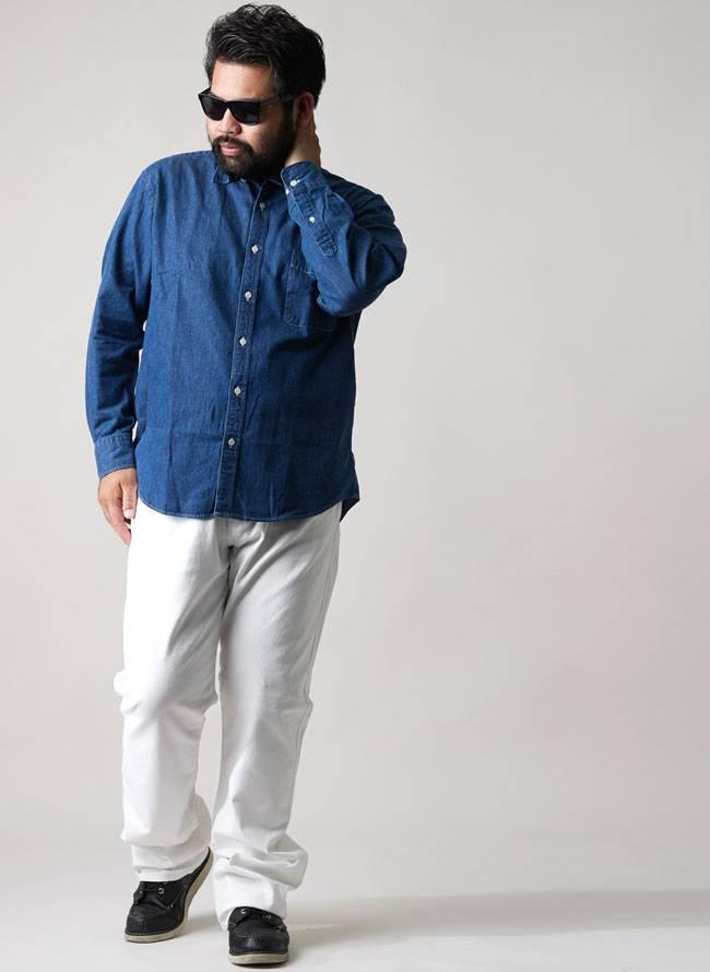 インド綿デニム風長袖シャツ