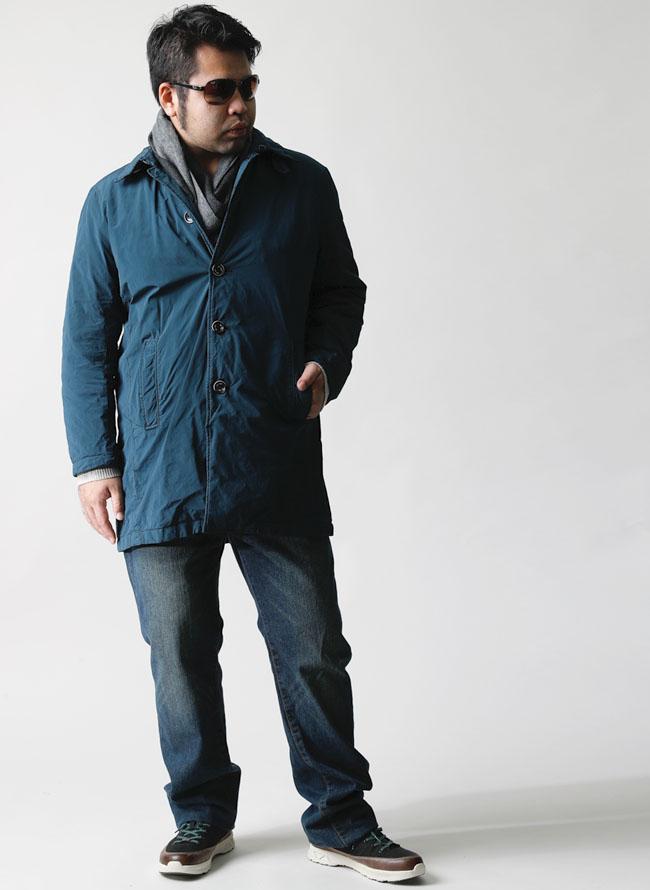 大きいサイズメンズQZILLAウォッシュド中綿シングルステンカラーコート