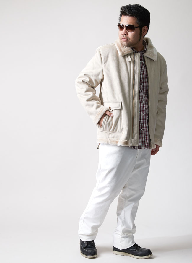 大きいサイズメンズQZILLA総ボアフェイクムートン襟ジャケットコート